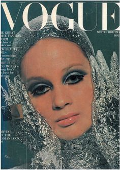 White Christmas 1966: UK Vogue December 1966, cover model Celia Hammond, photographed and bacofoiled by David Bailey