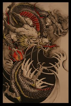 Not so much a fan of this style of finger waves but the simplicity and negative space definitely brings out the complexity of detail in the dragon. The dragon itself is a perfect representation of traditional Japanese IMO. Really dig this over all image Dragon Tattoo Poster, Dragon Tattoo Art, Dragon Tattoos For Men, Japanese Dragon Tattoos, Dragon Artwork, Dragon Tattoo Designs, Dragon Tattoo Colour, Carp Tattoo, Chinese Tattoos