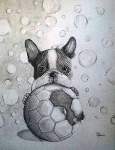 French Bulldog and a Soccer Ball, illustration