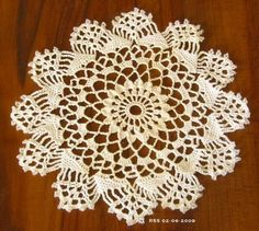 Crystal Beaded White Graphic Doily - Sparkling! Round with 12 Scallops with Crystal Iris Beads crocheted around the edge - a total of 216 Beads!  6 3/4 Inches in diameter - For Small Spaces! ~~~ #Handmade #Decor by @rssdesignsfiber of  RSSDesignsInFiber