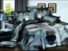 New Arrival Powerful Wolf Print Duvet Cover Sets. Bring different styling to your bedroom. Mens Bedding Sets, Bedding Sets Online, Queen Bedding Sets, Comforter Sets, Leopard Bedding, Animal Print Bedding, Purple Bedding, Wolf Photos, Blanket Cover