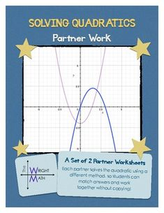 Just used with my class and am again inordinately pleased! From The Wright Math:   A set of two partner worksheets with practice for solving quadratic equations.   Students work together in pairs, but each partner is asked to solve the quadratic equation using a different method. For example, Partner A solves the quadratic by factoring and Partner B solves by graphing, then the students compare answers to see if they are equivalent.