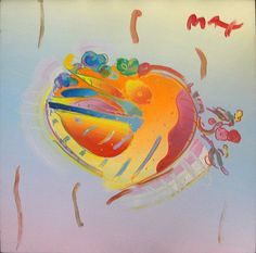 Peter Max Heart 1992 Original Acrylic on Canvas COA by GallArt