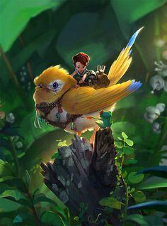 Una valiente caballera en su corsel dorado en el Bosque Pequeño.
