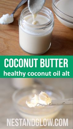 Coconut butter is a healthy alternative to coconut oil. This recipe makes it easy. Just use pure raw coconut and blend until creamy. It sets solid at room temperature and is liquid once heated above 38 degrees. All the fibre of coconut making it a gr Coconut Butter Recipes, Raw Coconut, Coconut Oil For Acne, Coconut Oil In Coffee, Coconut Cheese, Coconut Manna, Coconut Protein, Coconut Smoothie, Vegan Butter