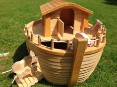 Wooden Noah's Ark, incl 18 wooden animals, Noah and  wife, made by Holztiger