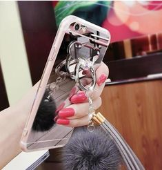 Luxury phone case with rabbit fur ball chain