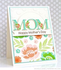 "Mother's Day card using Pion's ""Gran's Garden""  stamp set"
