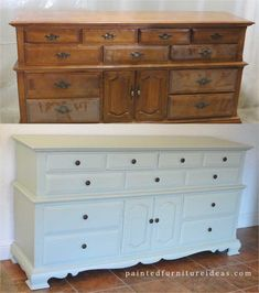Triple dresser refinished in light sage with new hardware
