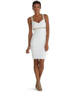 The Perfect Little White Dress House Black Market Sleeveless V Neck Embellished Instantly Slimming