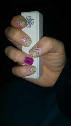 Jamberry's Candy Chevron with a Runner Girl Accent. Mandygibbs.jamberrynails.net