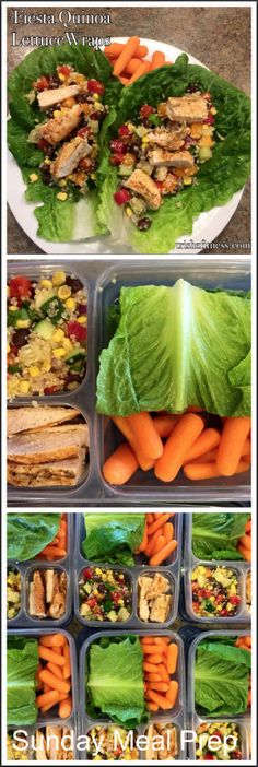 <<Sunday meal prep>> on the weekend ensures a healthy eating work week. This is an example of one of the lunch recipes that I make in bulk on Sunday and then eat for lunch during the early part of the work week. I prep 3-4 days in advance depending on the ingredients. Simply grill the chicken in Franks hot sauce and cut into strips. The Fiesta Quinoa recipe can be found in my Easy Clean Eating Recipes board. Wrap the chicken and fiesta quinoa into a lettuce wrap and enjoy!