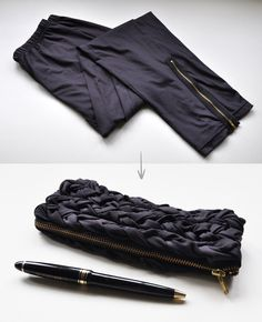 DIY leggings into pouch pencil case - I like this mostly because I don't like sewing in zippers