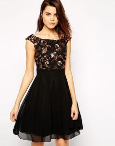 Little Mistress Embellished Bardot Skater Dress