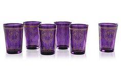 Set of 6 Moroccan Tea Glasses   One Kings Lane :: $32
