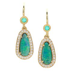 Pamela Froman Paraiba Tourmaline Boulder Opal Diamond Gold Drop Earrings. One of a Kind, handcrafted Boulder Opal Drop Earrings in hand-hammered, matte 18k yellow gold with pear-shaped boulder opal (16.30tcw), Paraiba tourmaline (0.09tcw), and a pave' diamond bezel (0.26tcw) on shiny 18k yellow gold wires. 2014