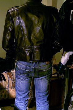 http://leathermotorcyclejackets.jimdo.com/  leather and jeans