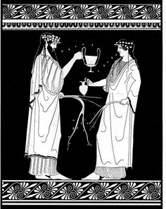 Sappho_Alcaeus_Attic krater attributed to the Brygos painter, 480-470 BCE. Line drawing by Valerie Woelfel
