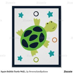 Squirt Bubble Turtle Wall Art Poster/Print 8x10 Poster