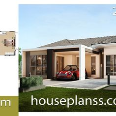 Small House Design Plans with 2 Bedrooms Full Plans - House Plans Sam Simple House Design, Modern House Design, Modern House Plans, Small House Plans, Modern Tropical House, 2 Bedroom House Plans, Two Storey House, Bungalow House Design, 3d Home