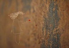 'Het hart' van Lotte van Dijck, een ets die ik mijzelf  cadeau gaf na mijn scheiding.