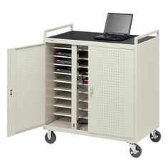 Bretford's mobile cart enables teachers to share tablets and laptops with multiple classrooms.