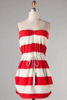 Sincerely Sweet Dress - Semester at Sea Ruched Stripe Strapless Dress in Red Cute Dresses, Cute Outfits, Summer Dresses, Cute Fashion, Fashion Pics, Nautical Dress, Little Red Dress, Stitch Fix Outfits, Sweet Dress