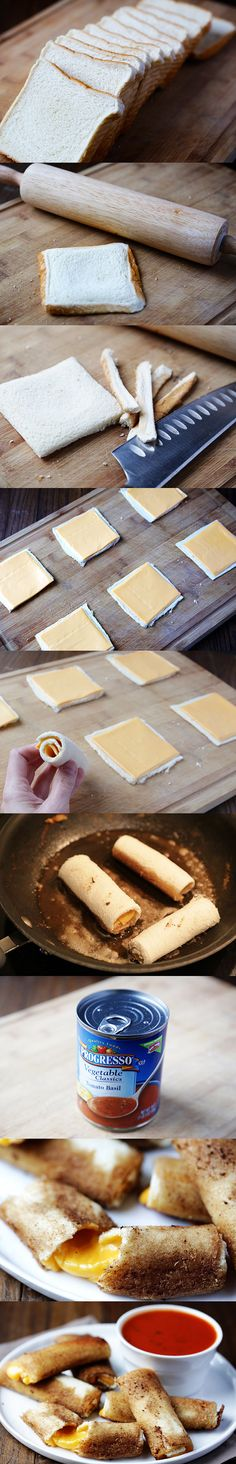 Deliciosos rollitos de pan y queso fundido / http://www.tablespoon.com/ http://www.gimmesomeoven.com/