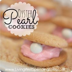 Oyster Pearl Cookies--the perfect treat for a mermaid, beach, or under-the-sea themed party!