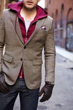 Burgundy Hoodie under Brown Wool Blazer which is absolutely looking amazing