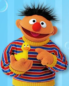 This is Ernie he is the brother of Bert ; he likes his toy rubber ducky he carry's it everywhere Sesame Street Muppets, Sesame Street Characters, Cartoon Characters, Les Muppets, Babys 1st Halloween, Mejores Series Tv, Bert & Ernie, Fraggle Rock, The Muppet Show