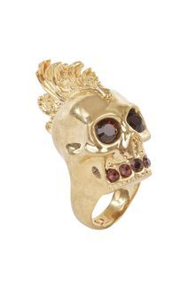 Gold Ruby Baroque Punk Skull Cocktail Ring #Punk #BadAss #WANT