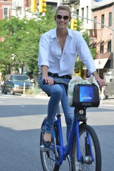 Karlie Kloss wore a classic Ralph Lauren oxford shirt while riding around New York this summer. #RLCelebs