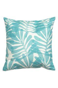 aqua leaf print pillow