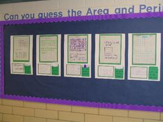 Can you guess the area and perimeter activity. This would be great on a large bulletin board in the hallway!
