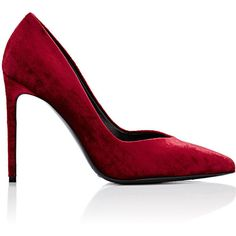 Saint Laurent Women's Paris Skinny Pumps ($279) ❤ liked on Polyvore featuring shoes, pumps, heels, red, red pointy toe pumps, red slip on shoes, pointed toe pumps, high heel pumps and red heel pumps