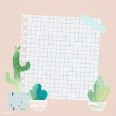 Blank paper with cactus design vector Graphic Wallpaper, Iphone Wallpaper, Powerpoint Background Design, Memo Notepad, Instagram Frame, Cute Notes, Frame Template, Plant Illustration, Note Paper