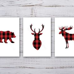 A set of 3 prints featuring plaid/tartan woodland animals, including a deer/stag, moose and bear.