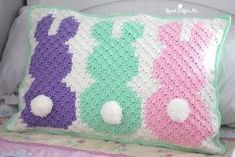 Crochet C2C Bunny Pillow Sham from Repeat Crafter Me