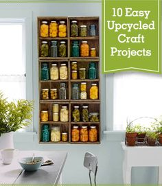 This is the only guide you'll ever need for crafting with our favorite country staple: the Mason jar. These easy Mason jar DIYs will make for absolutely adorable home decor. Mason Jar Crafts, Mason Jars, Canning Jars, Crate Shelves, Crate Storage, Crates On Wall, Tv Storage, Pantry Storage, Record Storage