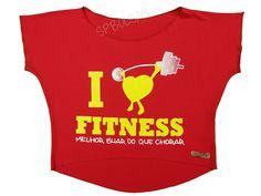 Blusas Femininas   Blusa Cropped I Love Fitness Melhor Suar Que Chorar Vermelha  Acesse: http://www.spbolsas.com.br/atacado/ #Regatas #Femininas #Atacado