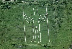 The Long Man of Wilmington hill figure in the South Downs, East Sussex