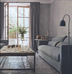 greige: interior design ideas and inspiration for the transitional home : Simply French Country - not sure what I think of this color. It reminds me of concrete. Home Living Room, Living Area, Living Room Decor, Living Spaces, Home Office, Transitional House, Piece A Vivre, Interior Decorating, Interior Design