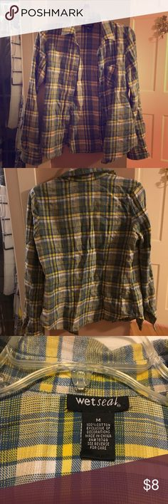 Yellow blue and white plaid button-down shirt Wet Seal size medium yellow blue and white plaid button-down shirt Wet Seal Tops