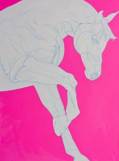 Pure linear drawing in porcelain against a painted background in deep pink.