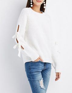 Shaker Stitch Tie-Sleeve Sweater | Charlotte Russe