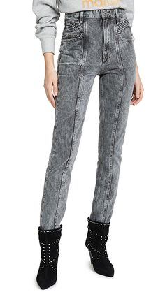 Etoile Isabel Marant Henoya Acid-wash High-rise Slim-leg Jeans In Grey Patchwork Jeans, Trends, Slim Legs, Stretch Denim, Isabel Marant, Shorts, Lady, Trendy Outfits, Vintage