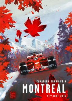 Scuderia Ferrari poster for the 2017 Canadian Grand Prix by Giuseppe Camuncoli -… Cartel de la Scuderia Ferrari para el … Grand Prix Racing, Pin Ups Vintage, Stock Car, Gp F1, Course Automobile, Canadian Grand Prix, F1 2017, Gilles Villeneuve, Car Illustration