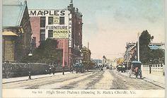 High Street Prahran (showing St Mark's Church), Vic. Melbourne Suburbs, Melbourne Victoria, Historical Images, History Photos, Melbourne Australia, Windsor, Old Photos, Postcards, Maps