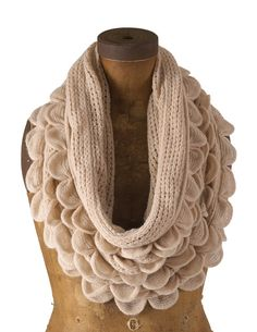 Oatmeal Oversized Ruffle Knitted Infinity Scarf by Oayno on Etsy, $21.99